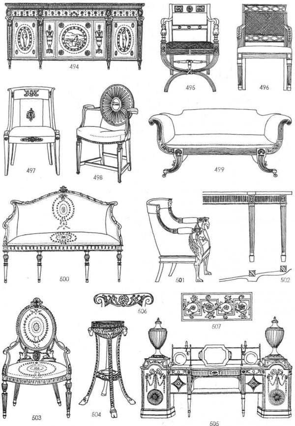 Виды мебели в стиле классицизма