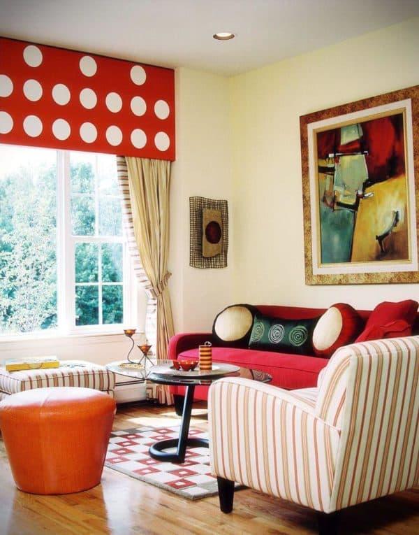 яркие тона в интерьере гостиной в стиле авангард