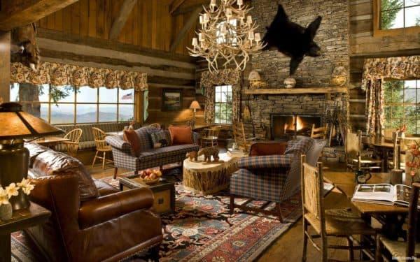 гостиная в загородном доме в стиле кантри