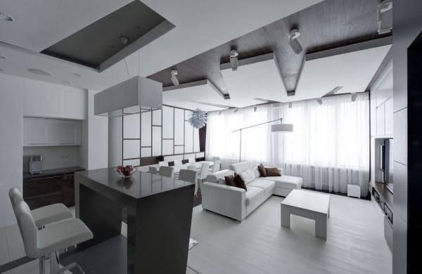 дизайн квартиры студии в стиле деконструктивизм