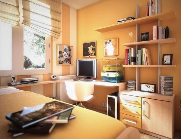 оранжевые тона в комнате мальчика-подростка