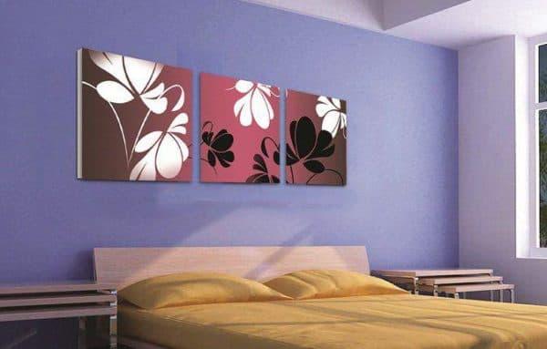 модульные картины в интерьере спальни