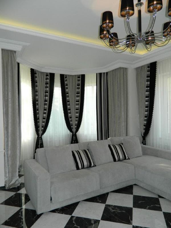современные шторы в гостиную фото