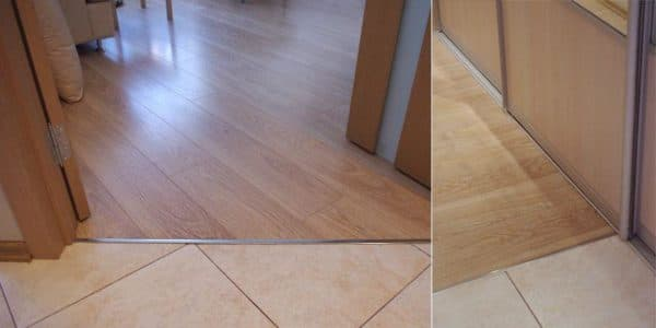 преимущества применения порогов для устранения стыка плитки и ламината