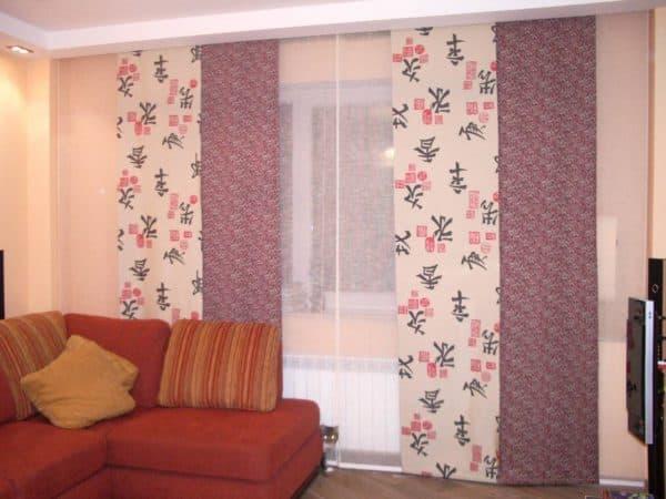 эркерные шторы для гостиной фото