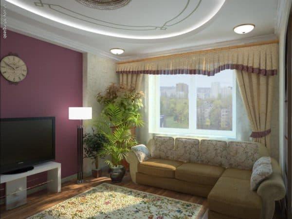 дизайн натяжных потолков в зале фото