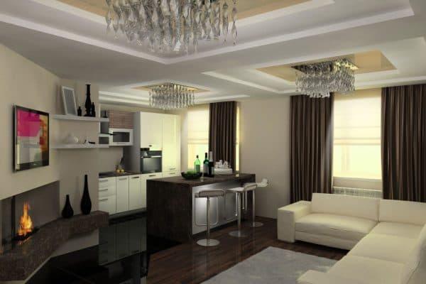 интерьер гостиной совмещенной с кухней фото