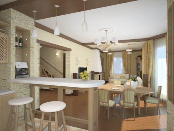 проекты кухонь совмещенных с гостиной