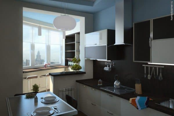 интерьер кухни совмещенной с гостиной