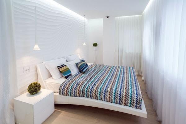 белые тона в дизайне спальни