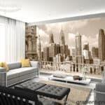 Фотообои города в интерьере гостиной