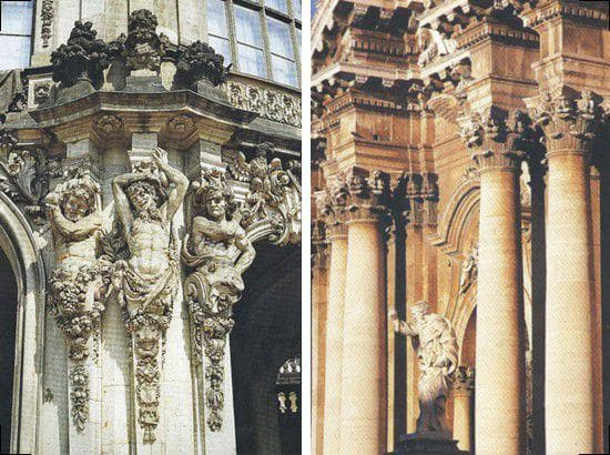 Кариатиды, атланты и маскароны в стиле барокко