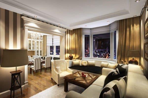 современная гостиная в стиле ар деко