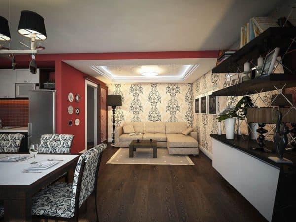совмещенная гостиная с кухней в стиле ардеко