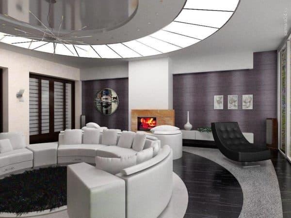 гостиная в пентхаусе в стиле бионика