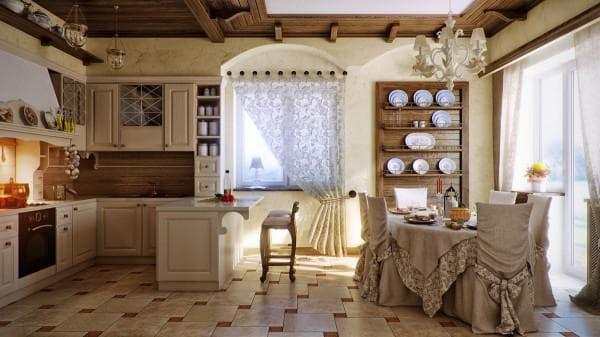 кухня, совмещенная со столовой в стиле кантри