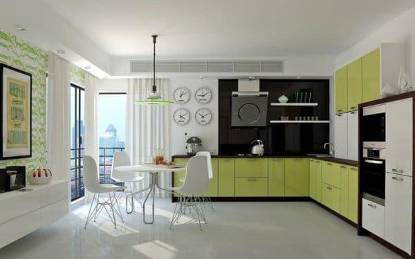 интерьер гостиной, совмещенной с кухней, в стиле деконструктивизм