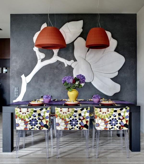 декорирование стен в стиле фьюжн