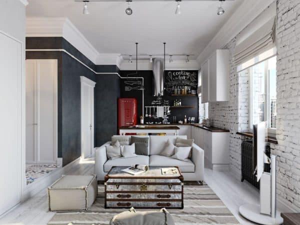 уютная гостиная в стиле фьюжн