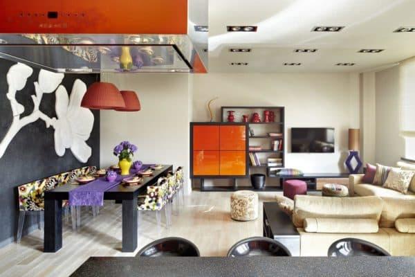декор гостиной, совмещенной со спальней в стиле фьюжн