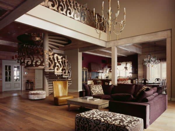 стиль фьюжн в интерьере гостиной загородного дома
