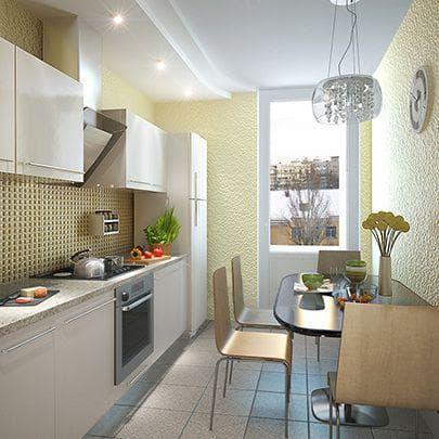 дизайн прямоугольной кухни с лоджией