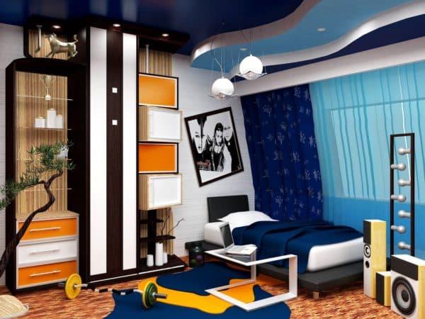 яркие цвета в комнате мальчика-подростка