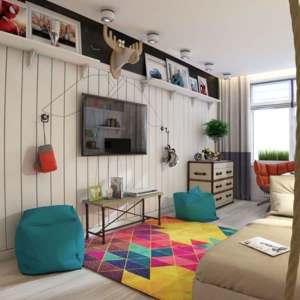 натуральные материалы в дизайне спальни мальчика-подростка