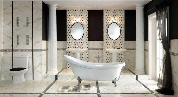 большая ванная комната с дизайном плитки
