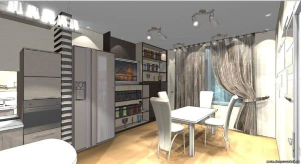 интерьер уютной кухни в стиле техно