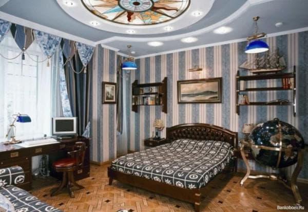дизайн обоев для зала комбинированные фото