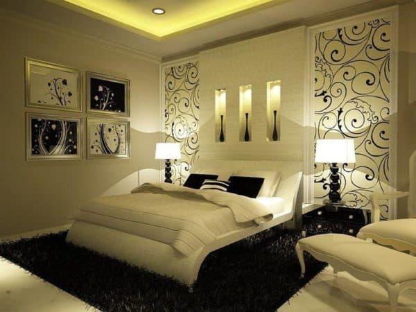 дизайн обоев для спальни комбинированные