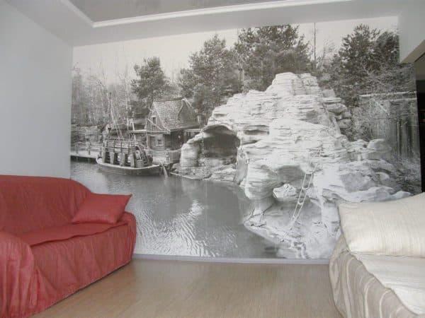 фото обоев для гостиной двух цветов