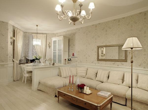 комбинирование обоев в гостиной фото идеи