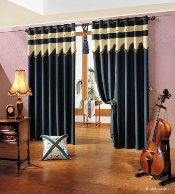 шторы на люверсах с тюлью фото
