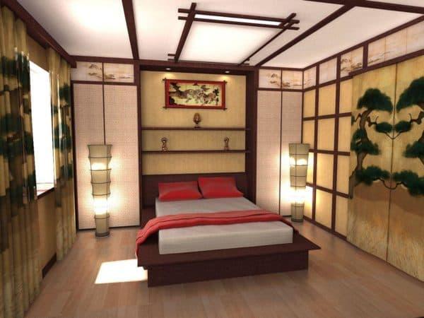 японский стиль в дизайне спальни